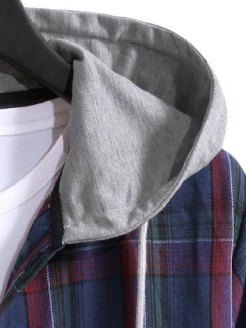 Camisa Capucha y Cordones a Cuadros - Azul Oscuro de Denim S Mobile
