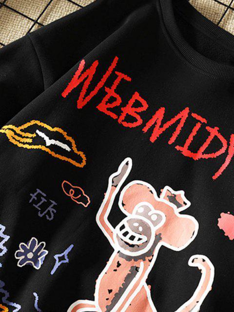 womens Cartoon Monkey Flower Letter Graphic Sweatshirt - BLACK M Mobile