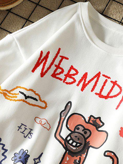 Sweat-shirt Graphique Lettre Singe Fleur de Dessin Animé - Blanc 3XL Mobile