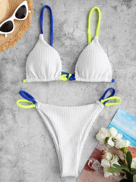 affordable ZAFUL Textured O Ring Contrast Straps String Bikini Swimwear - WHITE S Mobile