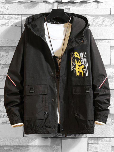 buy Letter Paint Print Ragan Sleeve Pocket Hooded Jacket - BLACK 2XL Mobile