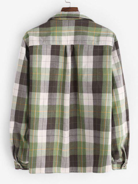 Veste Chemise à Carreaux à Doublure en Fausse Fourrure - Vert clair M Mobile