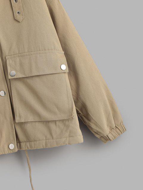 Manteau Cargo à Doublure en Fausse Fourrure à Cordon - café lumière S Mobile