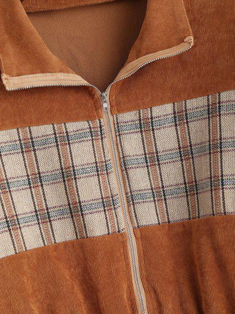 hot Plaid Panel Zip Up Corduroy Jacket - COFFEE S Mobile