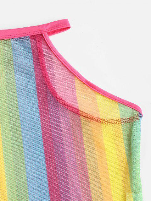 women Fishnet Rainbow Striped See Thru One-piece Swimsuit - MULTI S Mobile