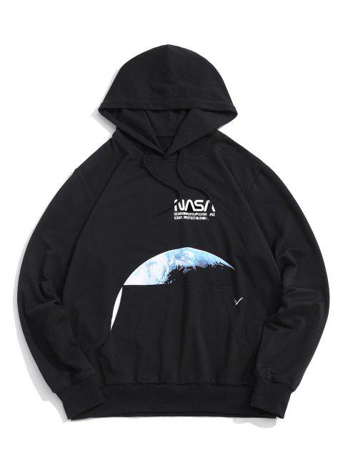 trendy Moon Space Shuttle Letter Pattern Hoodie And Shorts - BLACK 2XL Mobile
