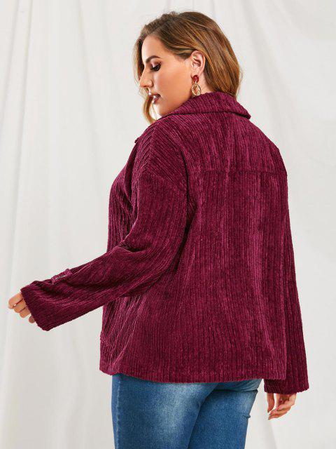 best Plus Size Flap Pockets Corduroy Jacket - RED WINE L Mobile