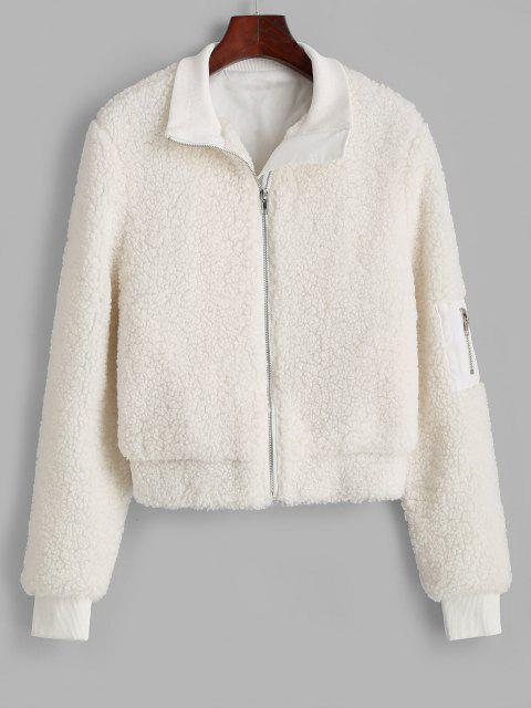 ZAFUL Ribbed Trim Zippered Teddy Jacket - أبيض XL Mobile