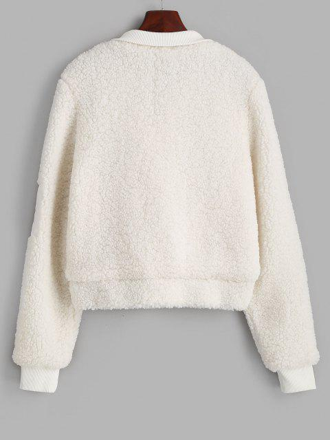 women's ZAFUL Ribbed Trim Zippered Teddy Jacket - WHITE S Mobile