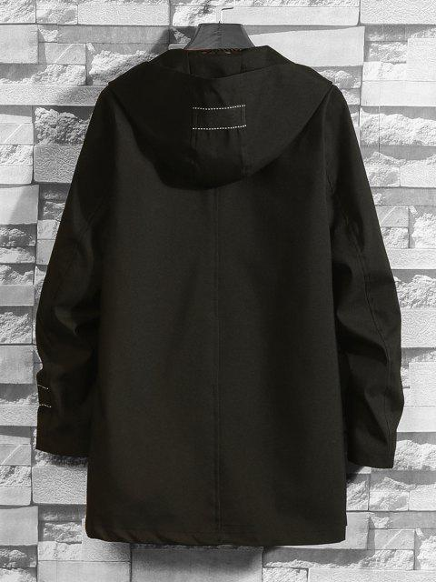 new Hooded Single Breasted Double Pockets Trench Coat - BLACK XS Mobile