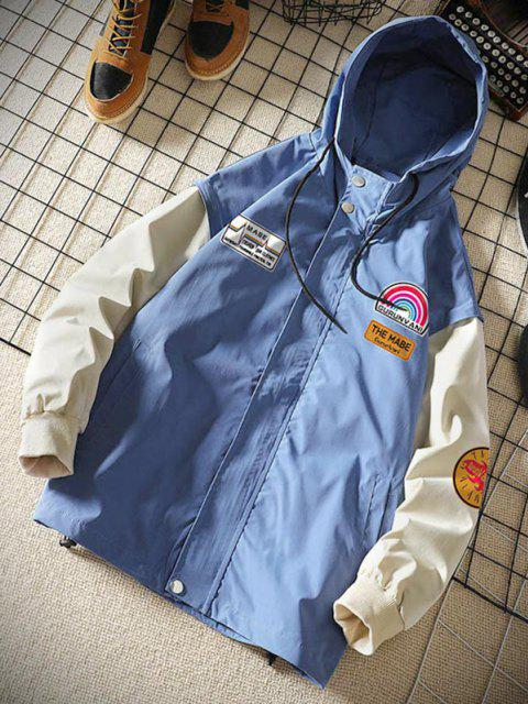women's Rainbow Letter Graphic Colorblock Sleeve Hooded Jacket - DENIM BLUE M Mobile