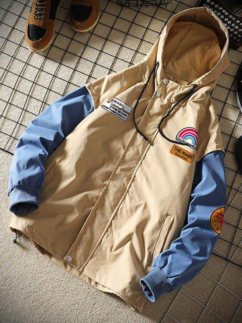 new Rainbow Letter Graphic Colorblock Sleeve Hooded Jacket - KHAKI XL Mobile