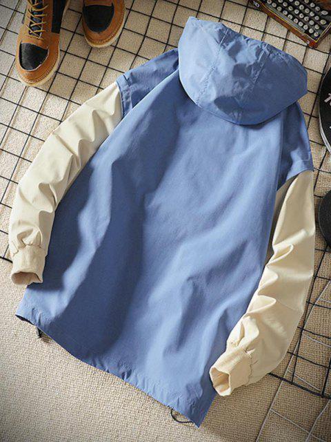 Veste à Capuche Lettre Graphique Arc-en-ciel en Blocs de Couleurs - Bleu Toile de Jean 2XL Mobile