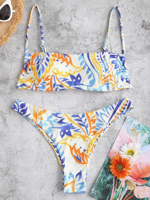 latest ZAFUL Ribbed Leaf Print Cami Bikini Swimwear - WHITE S Mobile