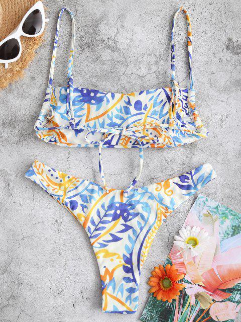 trendy ZAFUL Ribbed Leaf Print Cami Bikini Swimwear - WHITE M Mobile