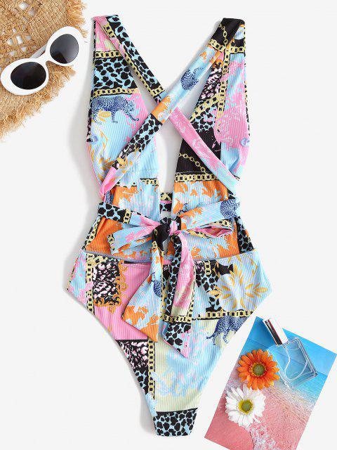 hot ZAFUL Crisscross Full Print Plunge One-piece Swimwear - LIGHT BLUE S Mobile