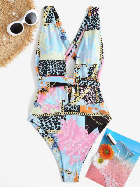 outfit ZAFUL Crisscross Full Print Plunge One-piece Swimwear - LIGHT BLUE M Mobile