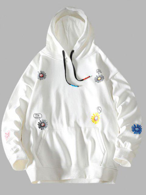 shops Daisy Letter Pattern Front Pocket Hoodie - WHITE S Mobile