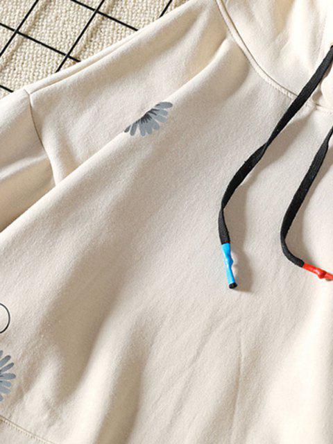 fashion Daisy Letter Pattern Front Pocket Hoodie - KHAKI L Mobile