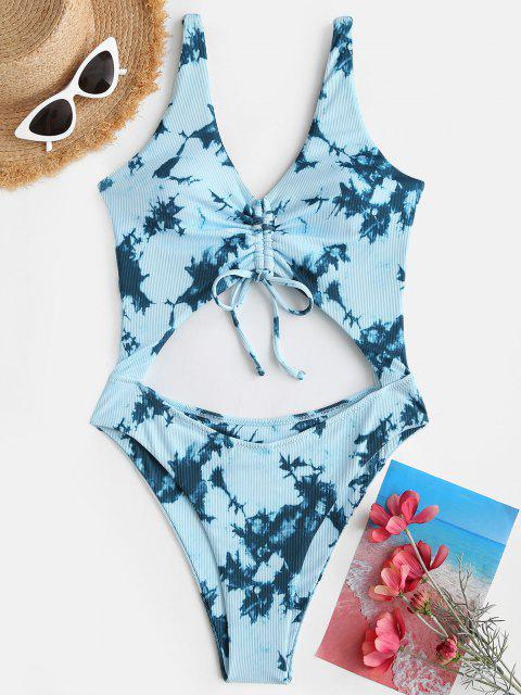 women's ZAFUL Tie Dye Ribbed Cinched Cutout One-piece Swimsuit - LIGHT BLUE S Mobile