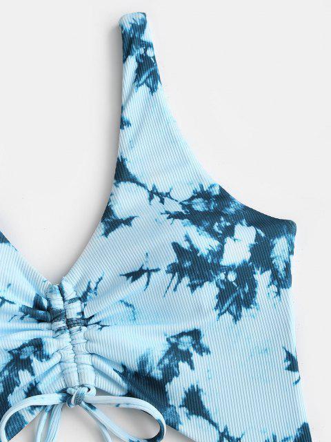 ZAFUL Maillot de Bain Découpé Côtelé Teinté Une-Pièce - Bleu clair S Mobile