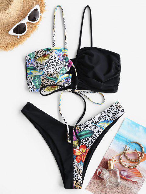 ZAFUL Costume da Bagno Bikini con Spalle Scoperte e Stampa Leopardato a Taglio Alto - Nero S Mobile