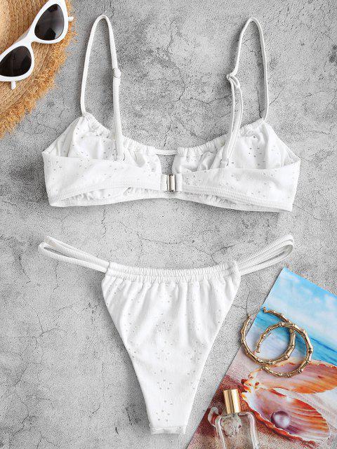 ZAFUL Costume da Bagno Bikini con Cravatta Arricciata ZAFUL - Bianca S Mobile