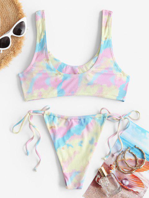online ZAFUL Tie Dye Tie Side Tanga Tank Bikini Swimwear - MULTI S Mobile