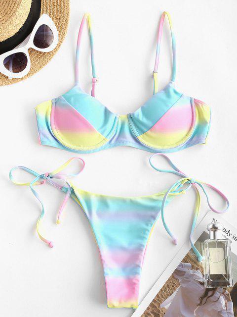 Costume da Bagno Bikini di Ombre Colorato con Ferretto di ZAFUL - Multi Colori S Mobile