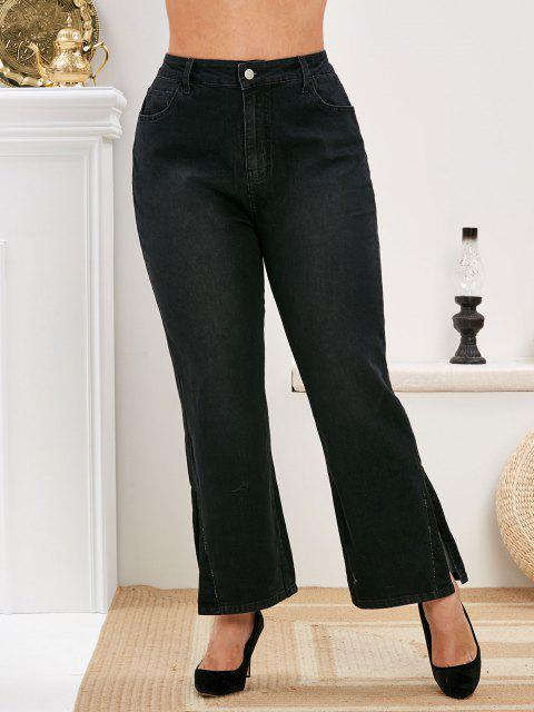 Plus Size Slit Cuffs High Rise Jeans - أسود L Mobile
