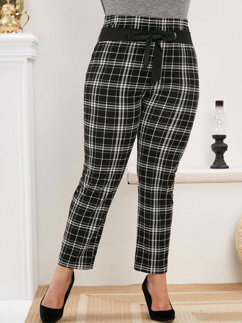 shops Plus Size Belted Plaid Pants - BLACK 4X Mobile