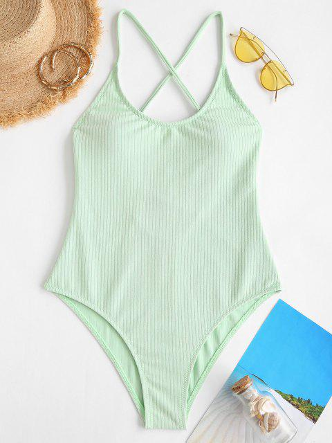 hot ZAFUL Ribbed Crisscross Back One-piece Swimsuit - LIGHT GREEN M Mobile