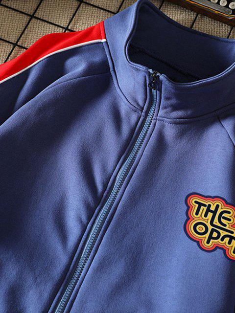 new Raglan Sleeve Letter Print Colorblock Jacket - DEEP BLUE M Mobile