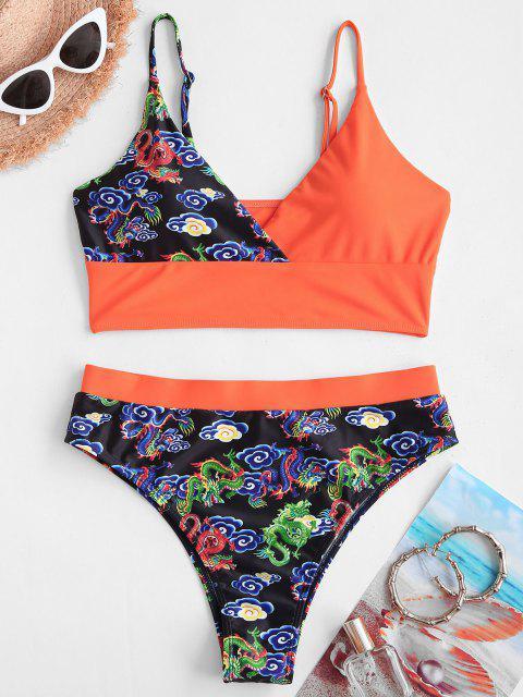 ZAFUL Badebekleidung mit Hoher Taille und Drache - Orange S Mobile