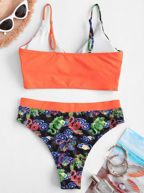 chic ZAFUL High Waisted Dragon Oriental Surplice Tankni Swimwear - ORANGE XL Mobile