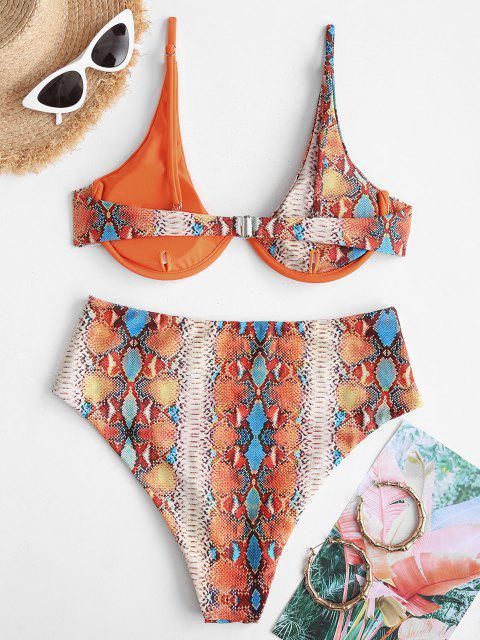 ZAFUL Bikini de Cintura Alta con Aros y Estampado de Serpiente - Naranja Oscuro S Mobile