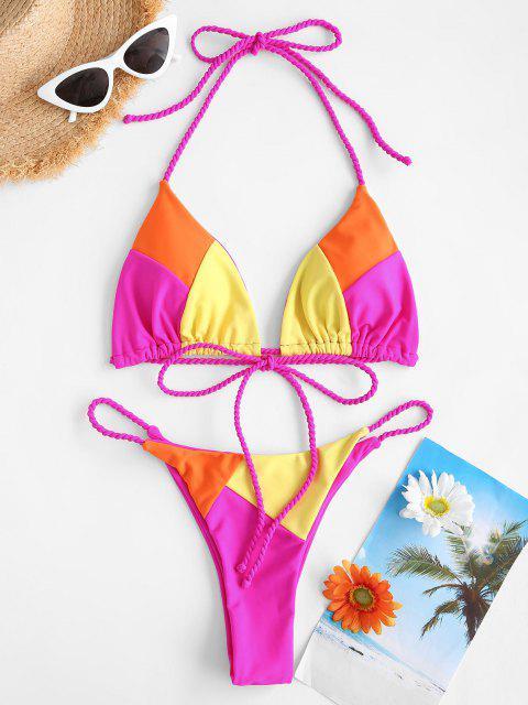 ZAFUL Costume da Bagno Bikini con Bretelle Imbottite Colore di Blocco - Multi Colori S Mobile