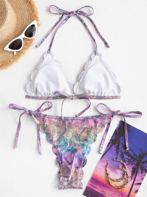 outfit ZAFUL Metallic Snakeskin Scalloped String Bikini Swimwear - LIGHT PURPLE M Mobile