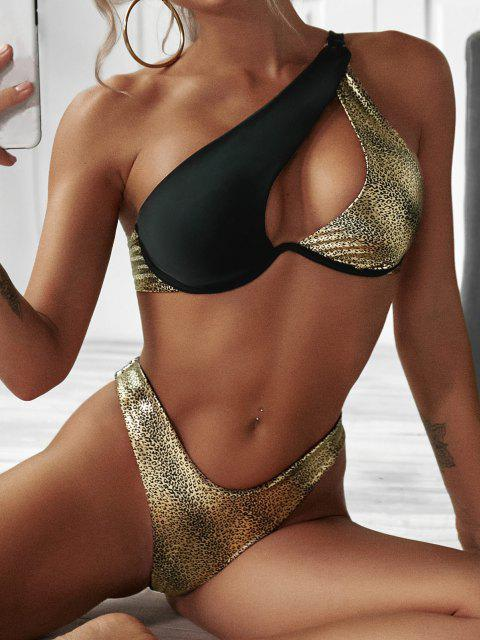 sale ZAFUL Metallic Animal One Shoulder Thong Bikini Swimwear - BLACK S Mobile