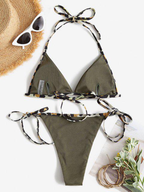 ZAFUL Bikini de Corte Alto con Cordones de Leopardo - Verde claro S Mobile