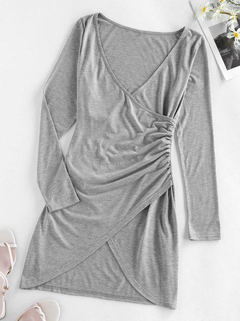 affordable Plunging Mini Tulip Hem Surplice Dress - ASH GRAY S Mobile