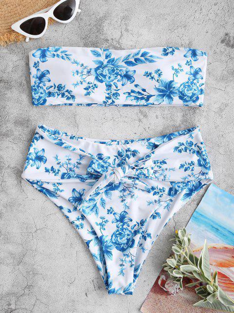 ZAFUL Maillot de Bain Bikini Bandeau Fleur Ceinturé à Taille Haute - Bleu S Mobile