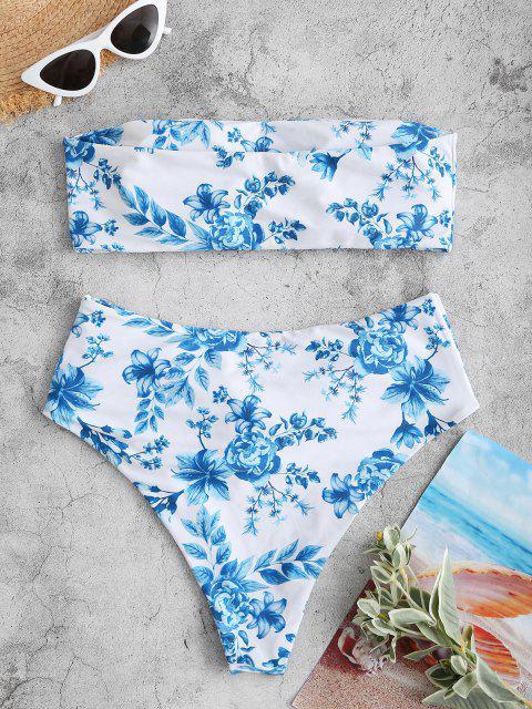 online ZAFUL Flower Belted High Waisted Bandeau Bikini Swimwear - BLUE M Mobile