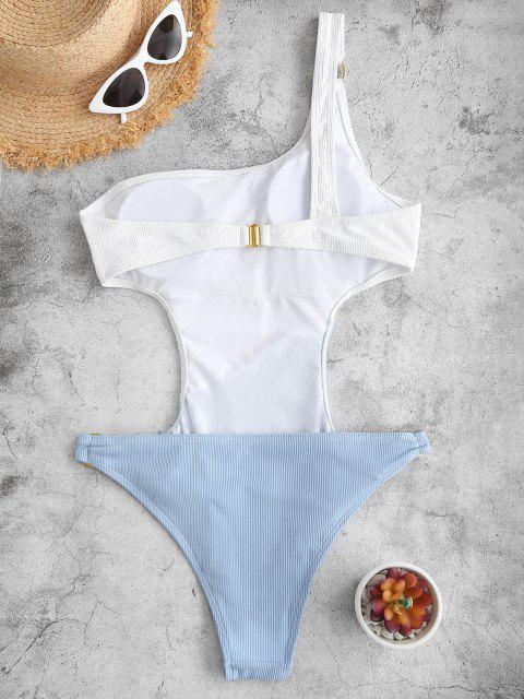 ZAFUL Bañador en Una Pieza de Hombro Acanalado de Dos Colores - Blanco S Mobile