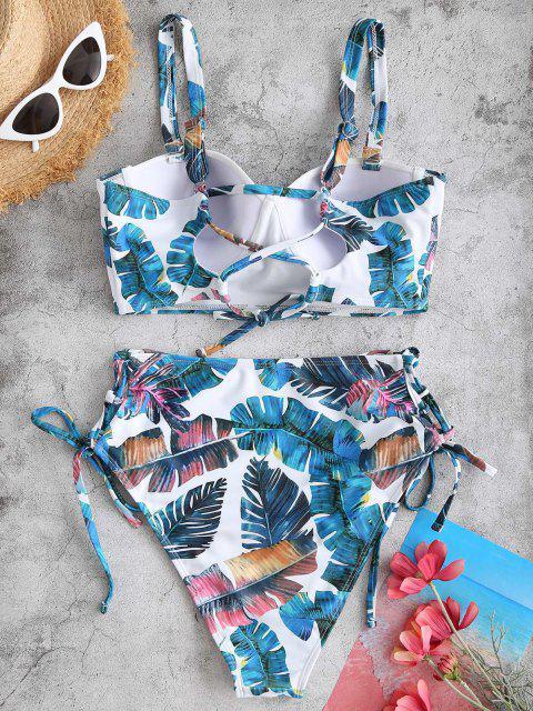 ZAFUL Tropische Blatt Geformte Tankini Badebekleidung mit Schnürung - Grün S Mobile
