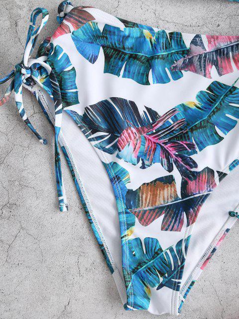 shop ZAFUL Tropical Leaf Lace Up Moulded Tankini Swimwear - GREEN XL Mobile