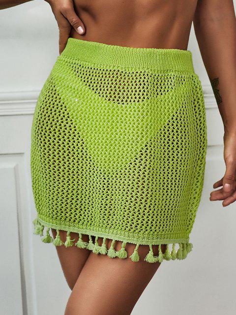 online Tassels Crochet Beach Skirt - CHARTREUSE ONE SIZE Mobile