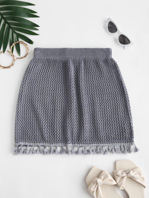shops Tassels Crochet Beach Skirt - PALE BLUE LILY ONE SIZE Mobile
