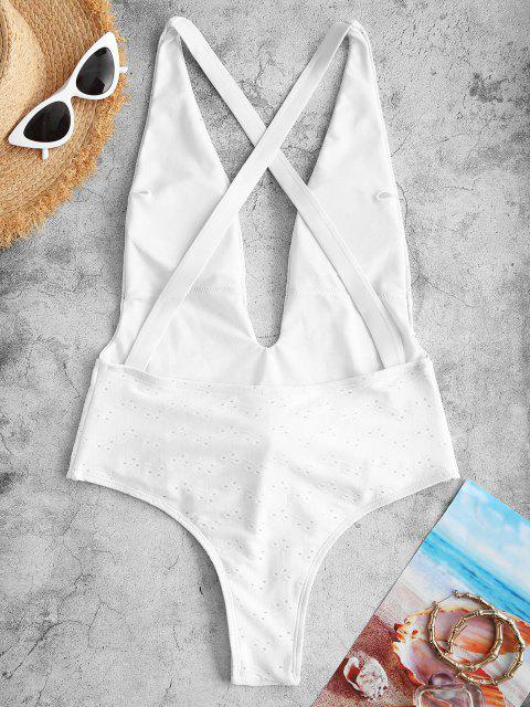 shops ZAFUL Broderie Anglaise Criss Cross High Leg Belted One-piece Swimsuit - WHITE XL Mobile