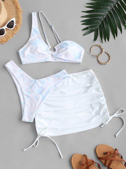 shop ZAFUL Side Cinched Tie Dye Three Piece Bikini Swimsuit - LIGHT BLUE S Mobile